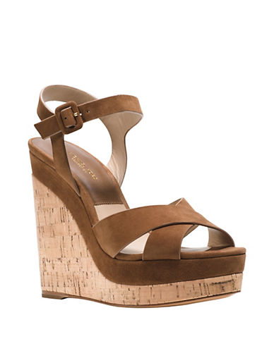 michael kors female 211468 cate leather platform wedge sandals