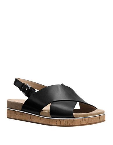 michael kors female 188971 hallie leather open toe slingback sandals