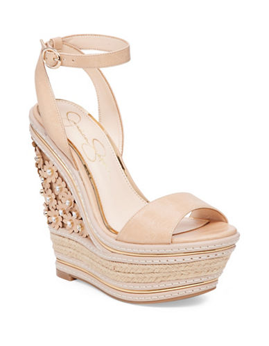 Buy Ameka Leather Flower Embellished Wedge Sandals by Jessica Simpson online