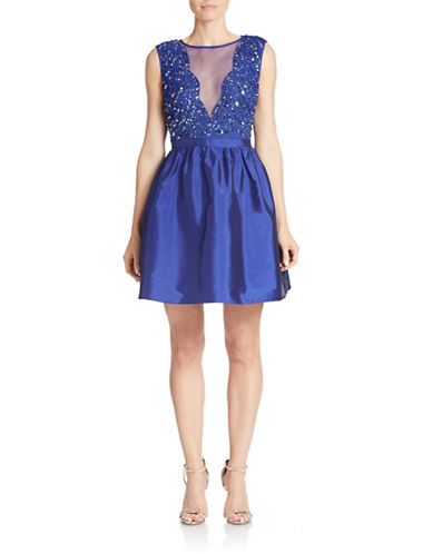 ADRIANNA PAPELLEmbellished Fit-and-Flare Dress