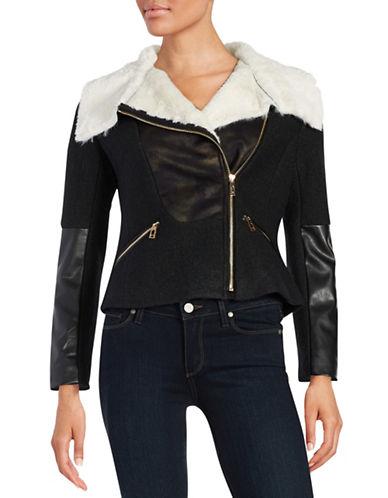 Ivanka Trump Mixed Media Faux Fur Moto Jacket