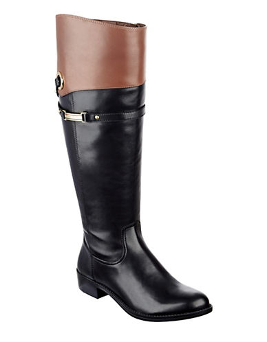 Buy Delphy Wide-Calf Knee-High Leather Boots by Tommy Hilfiger online