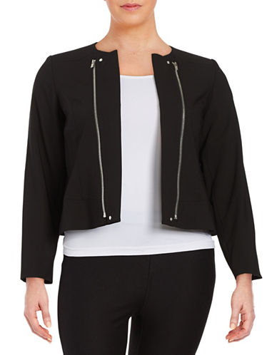 Plus Zip-Accented Open-Front Jacket plus size,  plus size fashion plus size appare