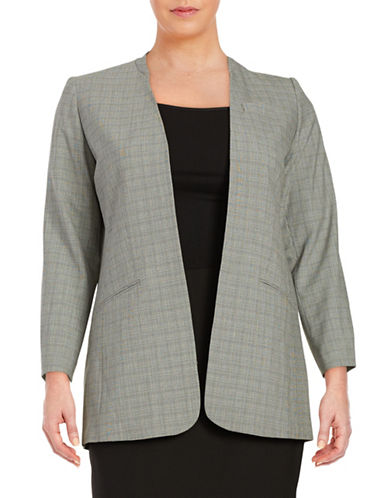 Plus Plaid Open Front Blazer plus size,  plus size fashion plus size appare