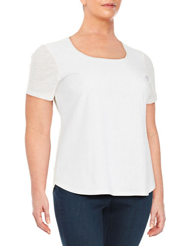 Plus Perforated Faux Suede Tee plus size,  plus size fashion plus size appare