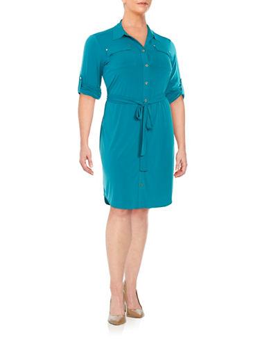 Plus Button-Front Shirt Dress plus size,  plus size fashion plus size appare
