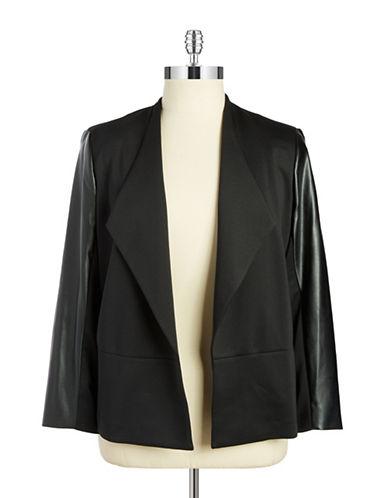 Plus Leatherette Accented Jacket plus size,  plus size fashion plus size appare