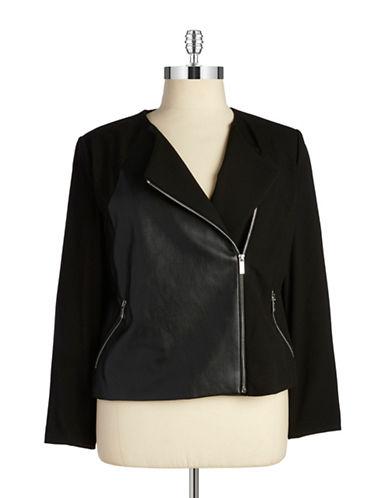 CALVIN KLEIN WOMENSPlus Faux Leather-Paneled Moto Jacket