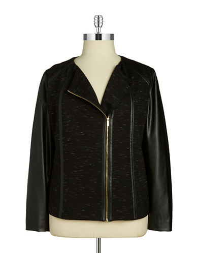 CALVIN KLEIN WOMENSPlus Faux-Leather Accented Jacket