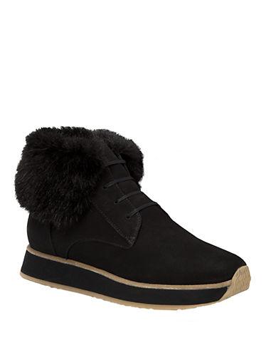 AQUATALIAJaboba Leather and Faux Fur Ankle Boots