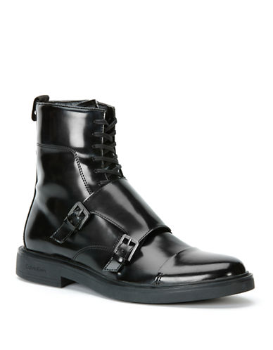 CALVIN KLEIN Davis Faux Leather Monkstrap Ankle Boots
