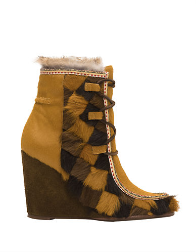 Buy Parker Calf Hair and Rabbit Fur-Lined Ankle Boots by Frye online
