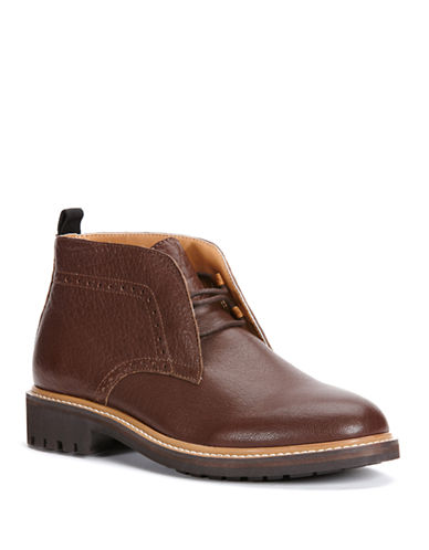 CALVIN KLEIN Tracen Leather Lace-Up Chukka Boots