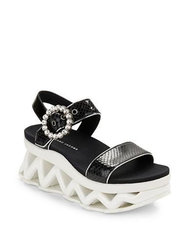 marc jacobs female ninja wave snakeembossed leather platform wedge sandals