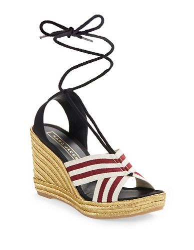marc jacobs female 215965 laceup espadrille wedge sandals