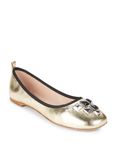 marc jacobs female studded metallic leather ballet flats