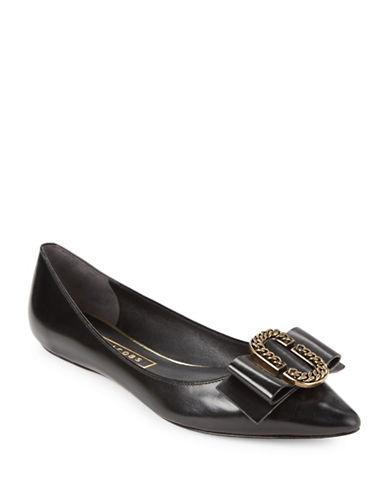 marc jacobs female interlock point toe leather flats