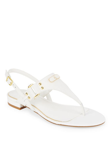 Buy Valinda Burnished Vachetta Leather Thong Sandals by Lauren Ralph Lauren online