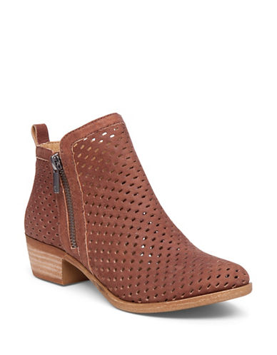 Buy Zipped Perforated Leather Booties by Lucky Brand online