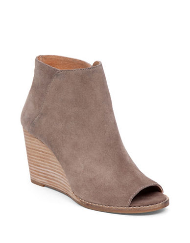 Buy Leather Open-Toe Booties by Lucky Brand online