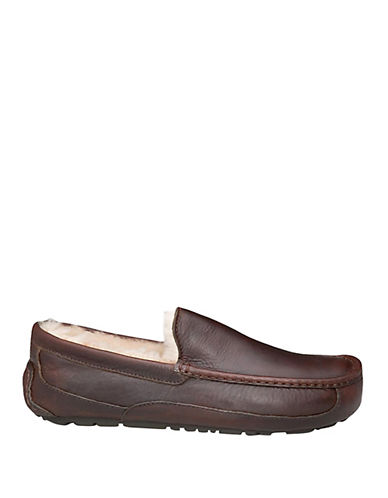 UGG AUSTRALIA Mens Ascot Indoor Outdoor Leather Slippers