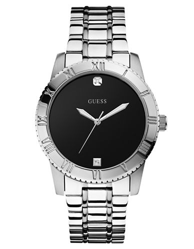 GUESSLadies Stainless Steel Sport Watch with Diamond Accent
