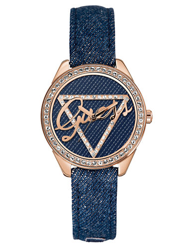 GUESSLadies Mid Size Iconic Blue Print Watch