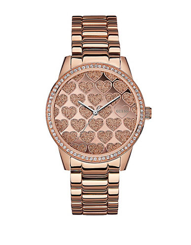 Guess Ladies Hearts In Glitz Rose Gold-Tone Watch