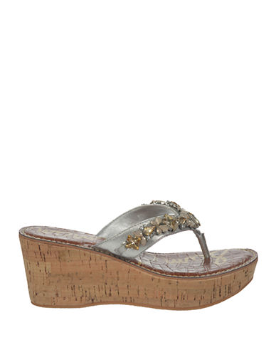 SAM EDELMANRandi Jeweled Leather Platform Sandals