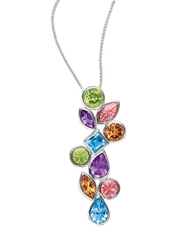 LORD & TAYLOR Sterling Silver Necklace with Blue Topaz, Citrine, Amethyst and Peridot Pendant