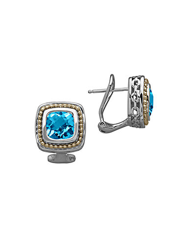 LORD & TAYLOR 14K Yellow Gold Sterling Silver and Blue Topaz Earrings