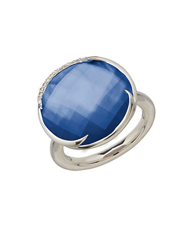 LORD & TAYLOR Sterling Silver Sapphire and Diamond Ring