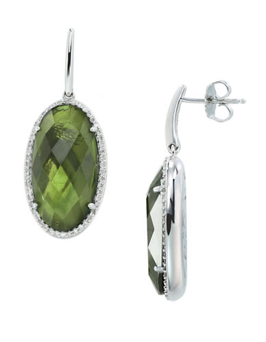 LORD & TAYLOR Sterling Silver Vesuvianite and Diamond Earrings