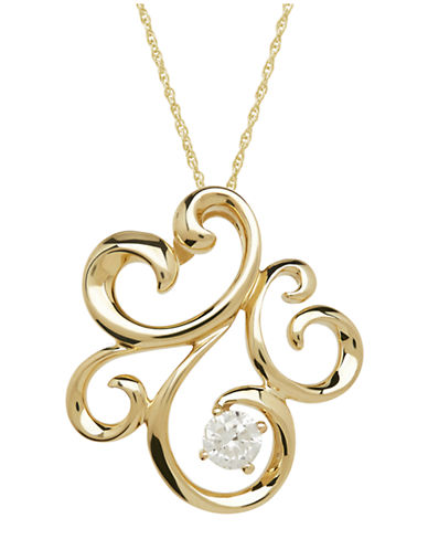 LORD & TAYLOR14Kt Yellow Gold Diamond Pendant Necklace