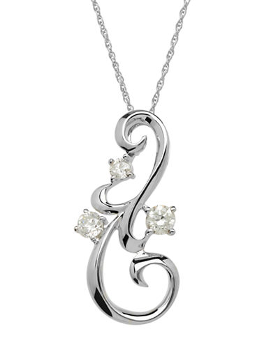 LORD & TAYLOR 14Kt White Gold and Diamond Scroll Pendant
