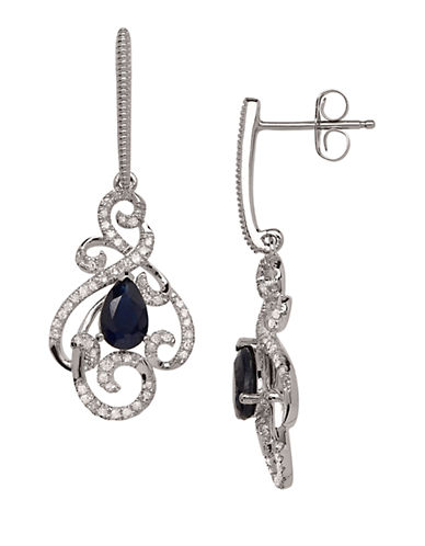 LORD & TAYLOR 14K White Gold Sapphire and Diamond Drop Earrings