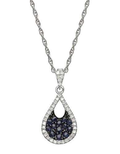 LORD & TAYLOR14K White Gold Sapphire and Diamond Pendant