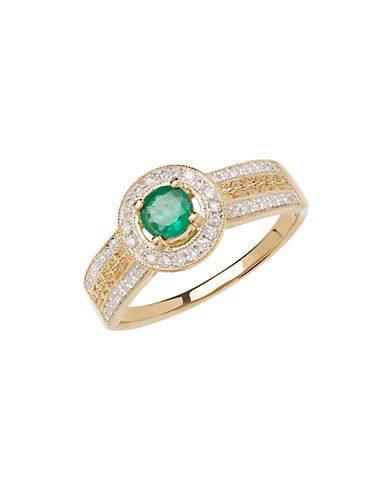 LORD & TAYLOR14K Yellow Gold Emerald and Diamond Ring