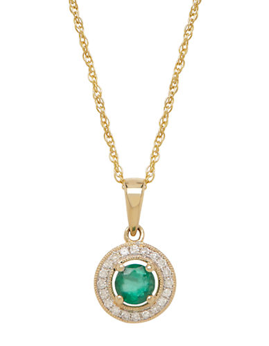 LORD & TAYLOR14K Yellow Gold Emerald and Diamond Pendant Necklace