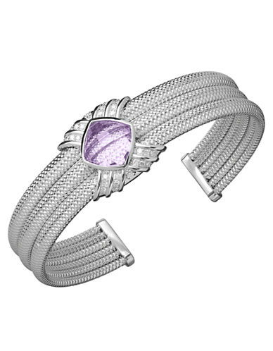 LORD & TAYLOR Sterling Silver Amethyst and Diamond Bangle