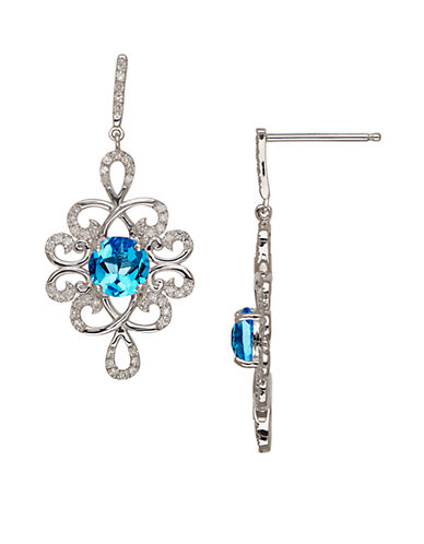 LORD & TAYLOR Sterling Silver Blue Topaz and Diamond Drop Earrings