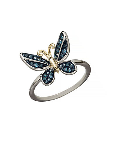 LORD & TAYLOR 14K Yellow Gold Sterling Silver and Diamond Butterfly Ring