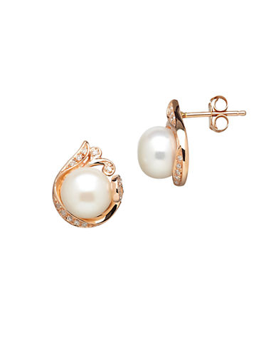 LORD & TAYLOR14K Rose Gold Freshwater Pearl and Diamond Earrings