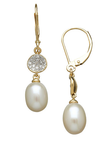 LORD & TAYLOR 14K Yellow Gold Freshwater Pearl and Diamond Drop Earrings