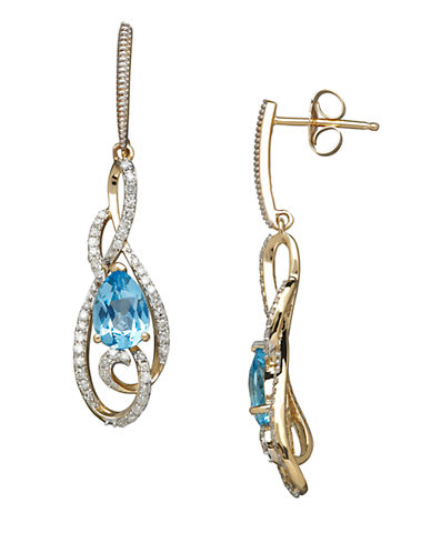 LORD & TAYLOR 14K Yellow Gold Blue Topaz and Diamond Drop Earrings