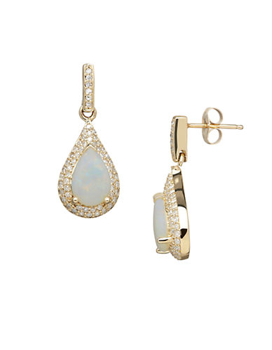 LORD & TAYLOR 14K Yellow Gold Opal and Diamond Drop Earrings