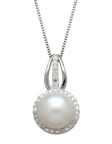LORD & TAYLOR Sterling Silver Freshwater Pearl and Diamond Pendant Necklace