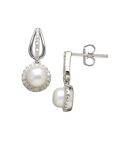 LORD & TAYLOR Sterling Silver Freshwater Pearl and Diamond Drop Earrings