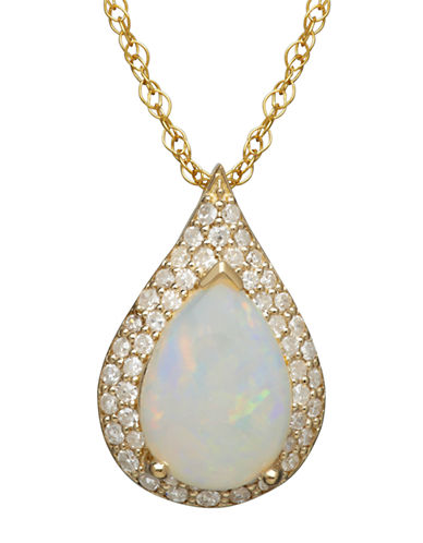 LORD & TAYLOR14K Yellow Gold Opal and Diamond Pendant