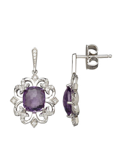 LORD & TAYLOR Sterling Silver Amethyst and Diamond Earrings
